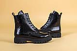Ботинки женские кожа питон черные зимние, фото 9
