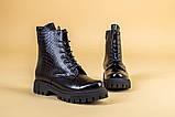 Ботинки женские кожа питон черные зимние, фото 10