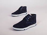 Мужские зимние ботинки синяя замша 40