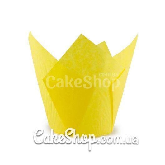 Форма бумажная для кексов Тюльпан желтая, 10 шт.