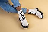 Ботинки женские кожаные бежевые на черной подошве, зимние, фото 7