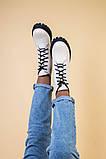 Ботинки женские кожаные бежевые на черной подошве, зимние, фото 9
