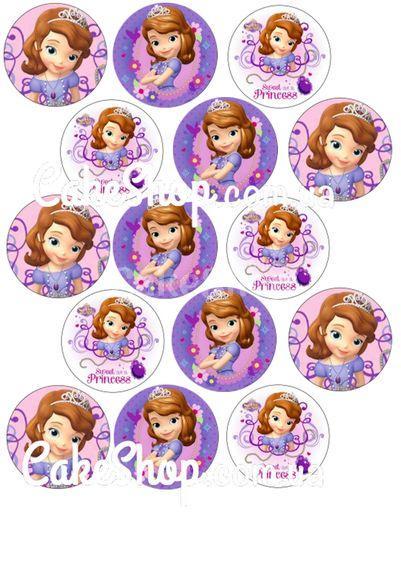 Сахарная картинка для капкейков Принцесса София 8