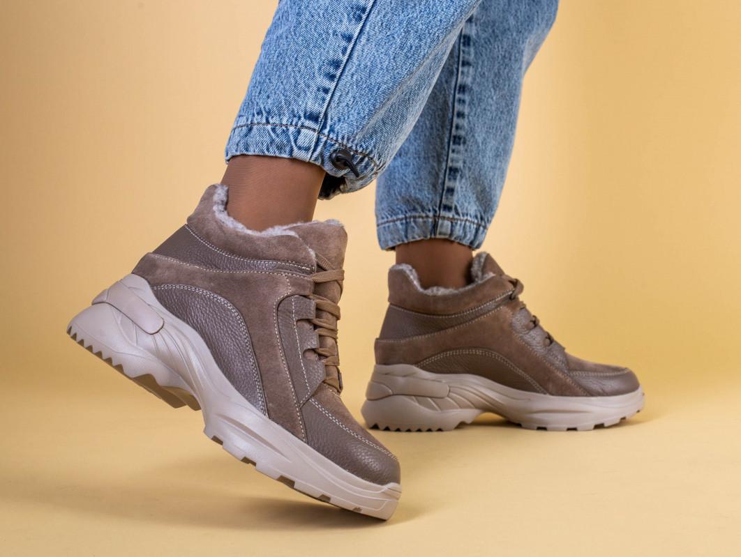 Кроссовки женские кожаные бежевые с вставками замши, высокие