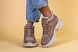 Кроссовки женские кожаные бежевые с вставками замши, высокие, фото 2