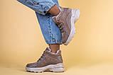 Кроссовки женские кожаные бежевые с вставками замши, высокие, фото 3