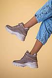 Кроссовки женские кожаные бежевые с вставками замши, высокие, фото 4