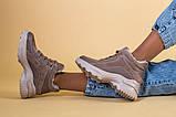 Кроссовки женские кожаные бежевые с вставками замши, высокие, фото 5