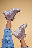 Кроссовки женские кожаные бежевые с вставками замши, высокие, фото 7
