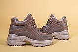 Кроссовки женские кожаные бежевые с вставками замши, высокие, фото 9