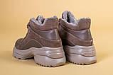 Кроссовки женские кожаные бежевые с вставками замши, высокие, фото 10
