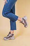 Кроссовки женские кожаные цвета латте с вставками коричневой замши, зимние, фото 3