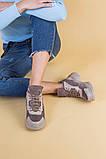 Кроссовки женские кожаные цвета латте с вставками коричневой замши, зимние, фото 5
