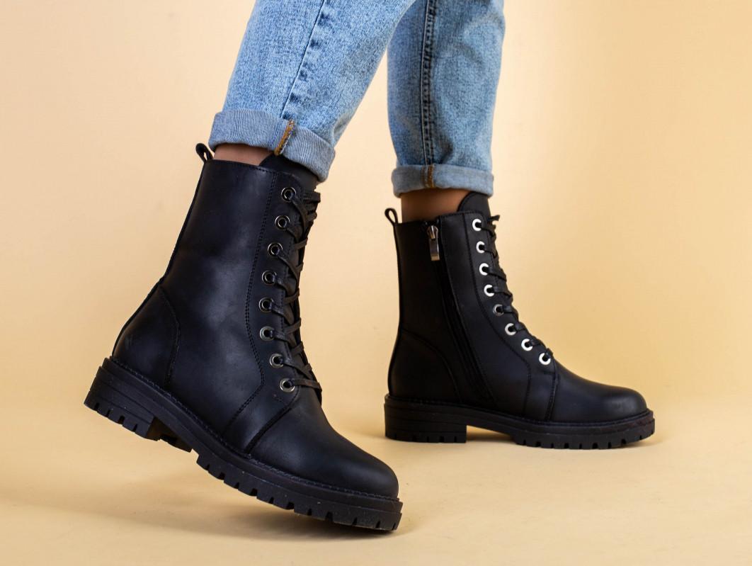 Ботинки женские кожаные матовые черные зимние