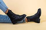Ботинки женские кожаные матовые черные зимние, фото 5
