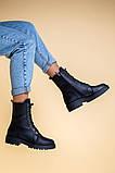 Ботинки женские кожаные матовые черные зимние, фото 9