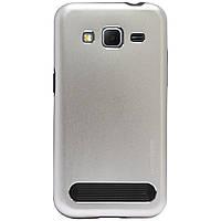 Бампер алюминиевый для Samsung Galaxy Core Prime G360 - Motomo TPU Metal case (серебристый)