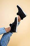 Лоферы женские замшевые черные с опушкой на светлой подошве, фото 6