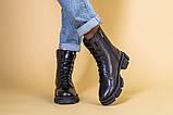 Ботинки женские кожаные черного цвета, зимние, фото 2