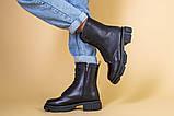 Ботинки женские кожаные черного цвета, зимние, фото 3