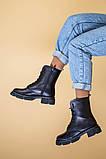 Ботинки женские кожаные черного цвета, зимние, фото 4