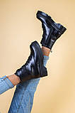 Ботинки женские кожаные черного цвета, зимние, фото 7