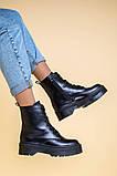 Ботинки женские кожаные черного цвета, зимние, фото 8