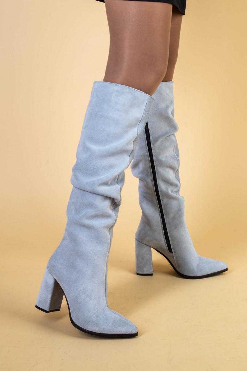 Сапоги женские замшевые серые на каблуке, зимние