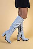Сапоги женские замшевые серые на каблуке, зимние, фото 2