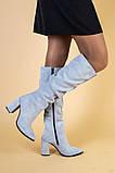 Сапоги женские замшевые серые на каблуке, зимние, фото 3