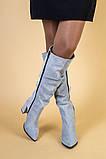 Сапоги женские замшевые серые на каблуке, зимние, фото 4