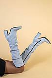 Сапоги женские замшевые серые на каблуке, зимние, фото 6