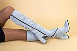 Сапоги женские замшевые серые на каблуке, зимние, фото 7