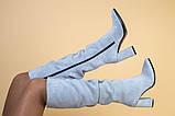 Сапоги женские замшевые серые на каблуке, зимние, фото 8