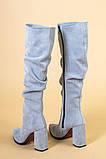 Сапоги женские замшевые серые на каблуке, зимние, фото 10