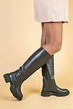 Сапоги женские кожаные цвета хаки зимние, фото 2
