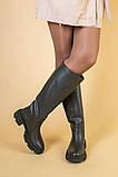 Сапоги женские кожаные цвета хаки зимние, фото 3