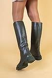 Сапоги женские кожаные цвета хаки зимние, фото 4