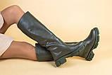 Сапоги женские кожаные цвета хаки зимние, фото 8