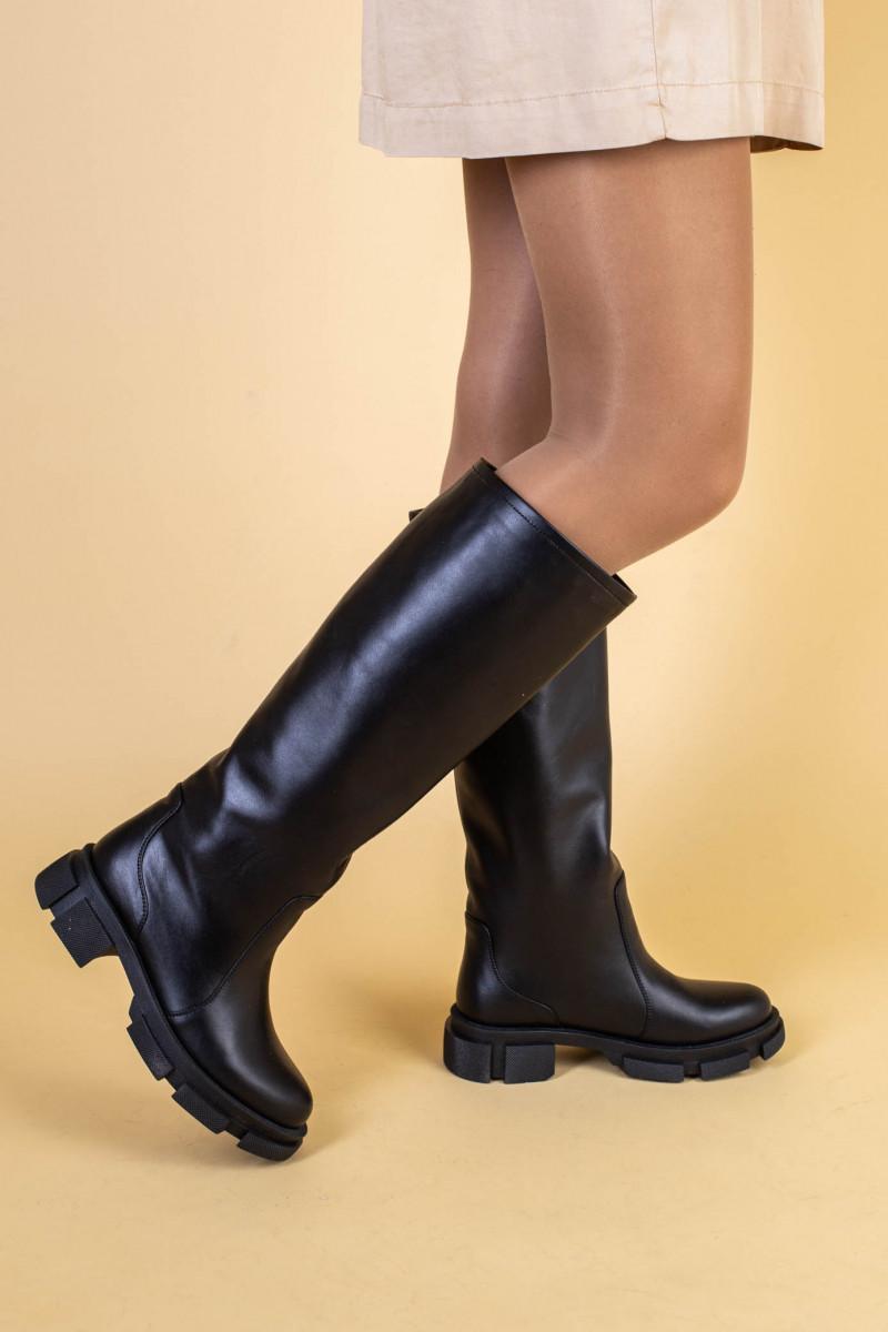 Сапоги женские кожаные черные зимние