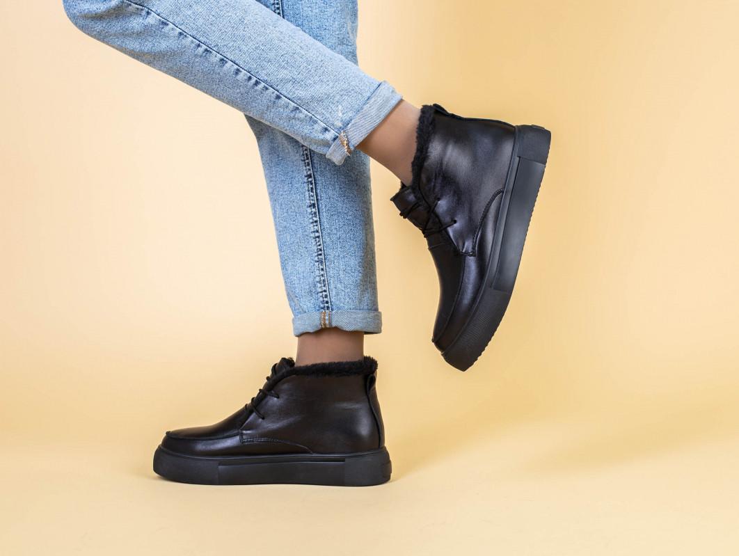 Ботинки женские кожаные черные на шнурках, зимние