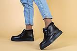 Ботинки женские кожаные черные на шнурках, зимние, фото 3