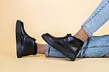 Ботинки женские кожаные черные на шнурках, зимние, фото 4