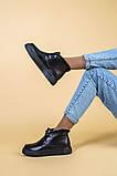 Ботинки женские кожаные черные на шнурках, зимние, фото 5