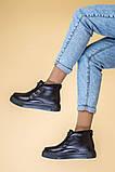 Ботинки женские кожаные черные на шнурках, зимние, фото 6