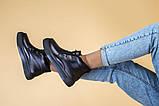 Ботинки женские кожаные черные на шнурках, зимние, фото 7