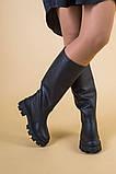 Сапоги-трубы женские кожа черного цвета, зимние, фото 2