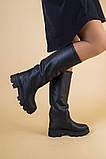 Сапоги-трубы женские кожа черного цвета, зимние, фото 3