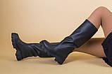 Сапоги-трубы женские кожа черного цвета, зимние, фото 4