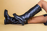 Сапоги-трубы женские кожаные черные зимние, без молнии, фото 5